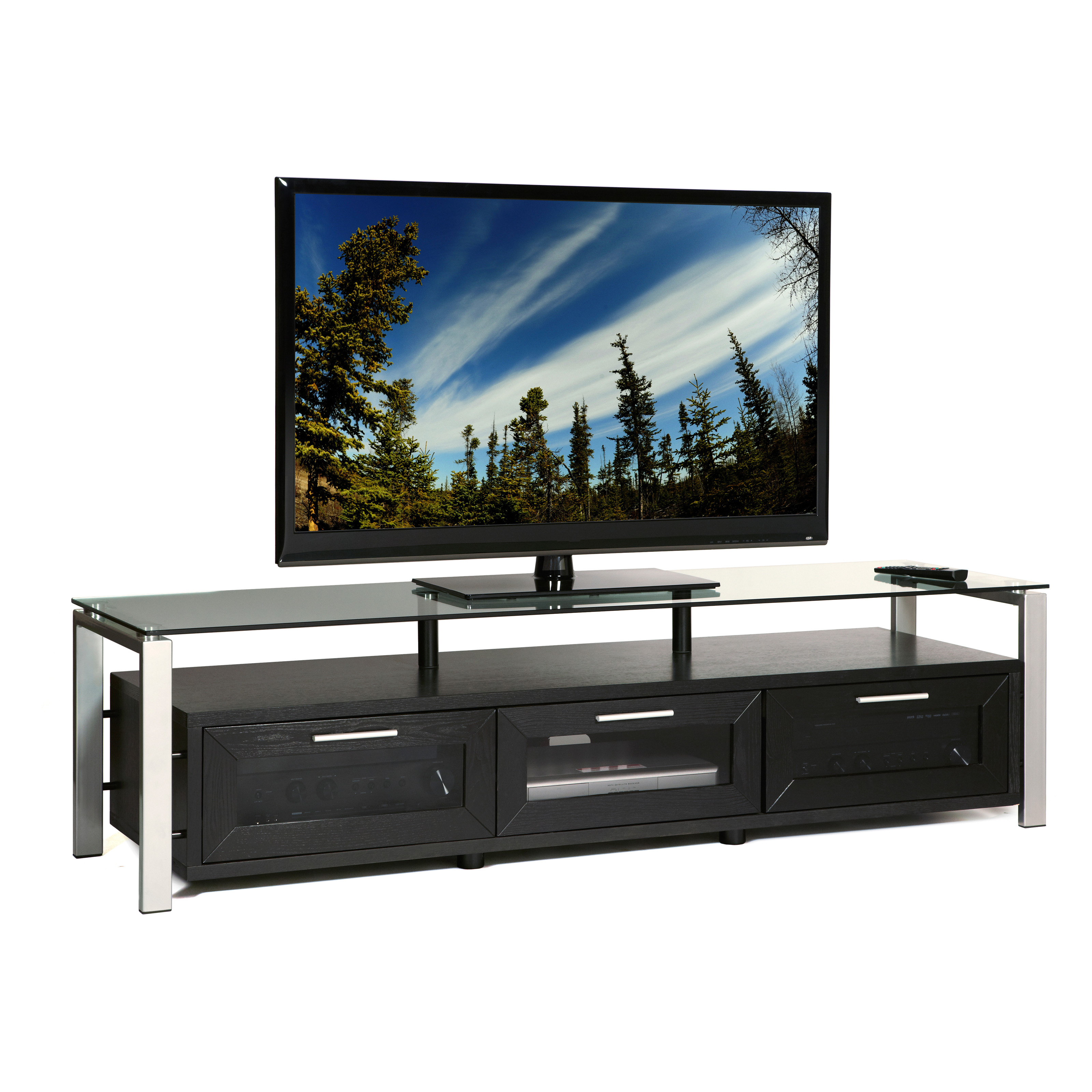 Plateau Decor 71 Inch TV Stand in Black Black and Silver