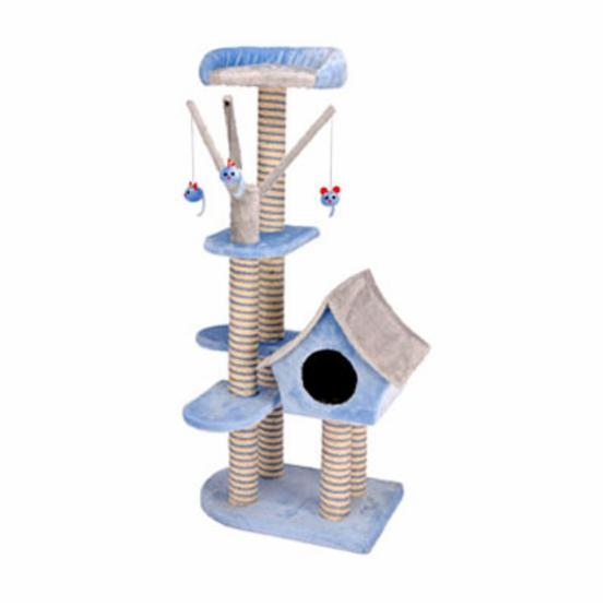 Penn Plax Deluxe 50 in. Cat Cottage with Lounging Tower in Blue/Gray