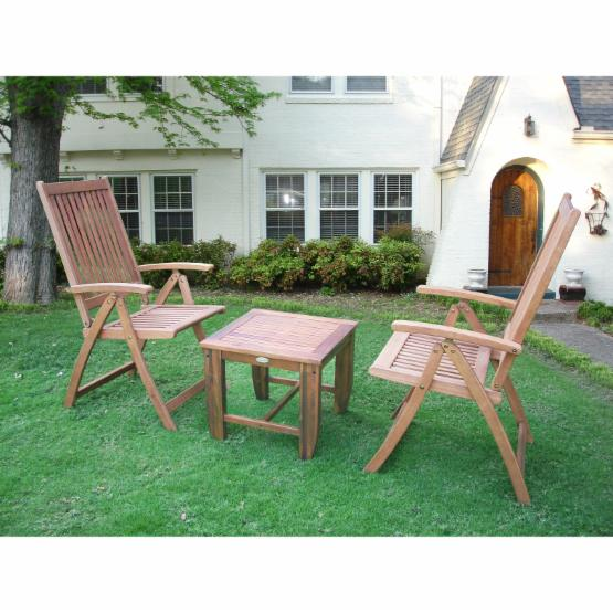 Pomegranate Solutions Madison Wood 3 Piece Patio Bistro Set