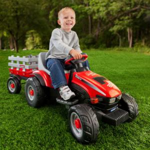 Peg Perego Case IH Lil Tractor & Trailer Battery Powered Riding Toy