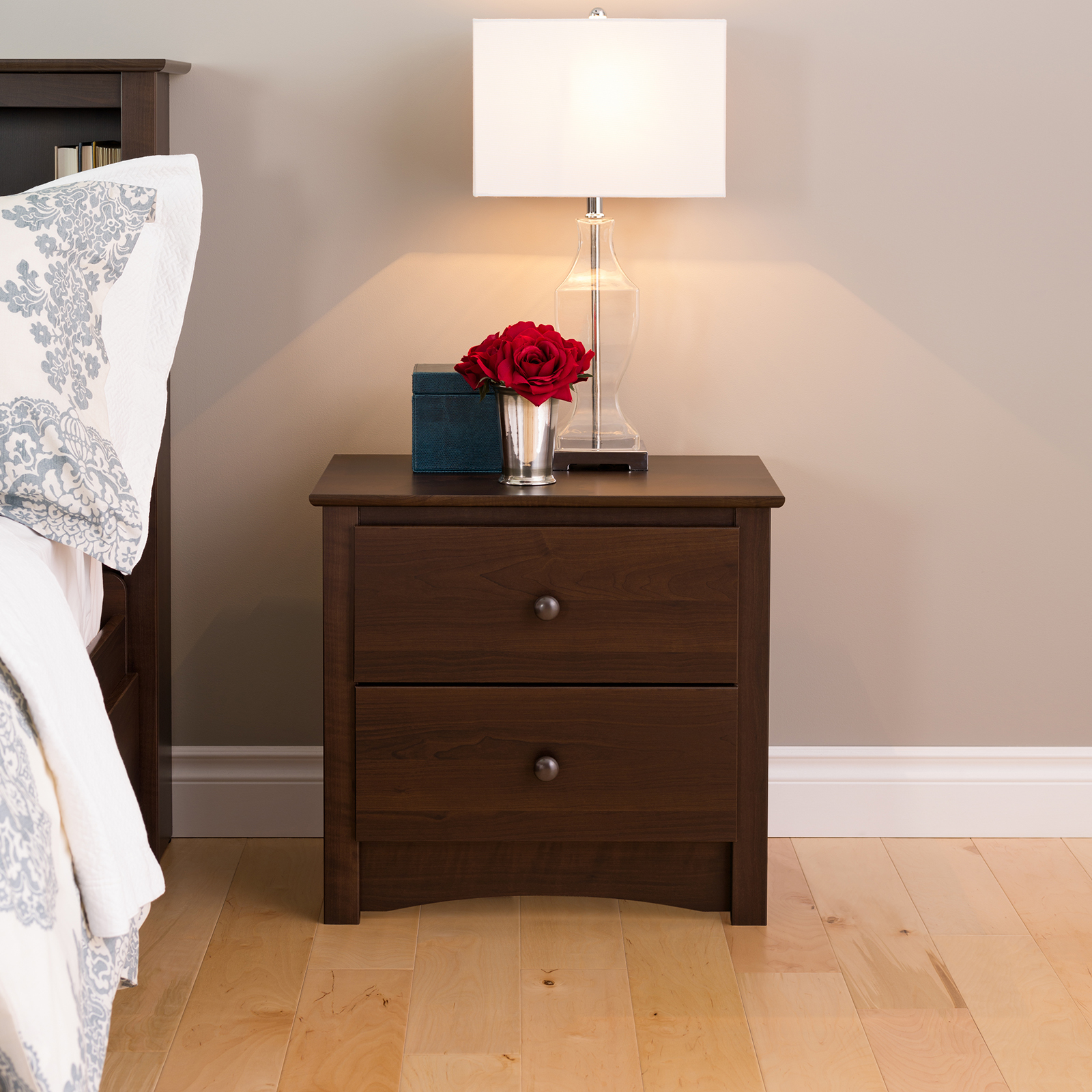prepac fremont drawer tall night stand with open shelf  - prepac fremont drawer tall night stand with open shelf  espresso hayneedle