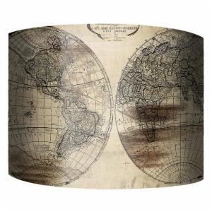 PTM Images World Map II Drum Lamp Shade