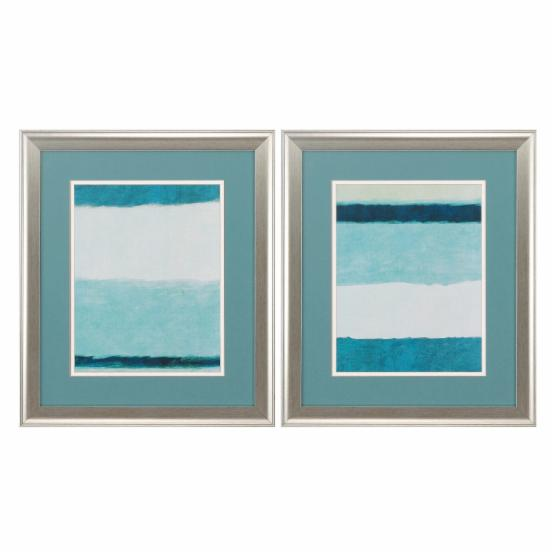 Propac Images Teal Blocks Framed Painting Print - Set of 2