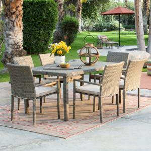Coral Coast South Isle 7 pc. All Weather Wicker Natural Patio Dining Set