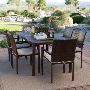 Coral Coast South Isle All Weather Wicker Dark Brown Patio Dining Set