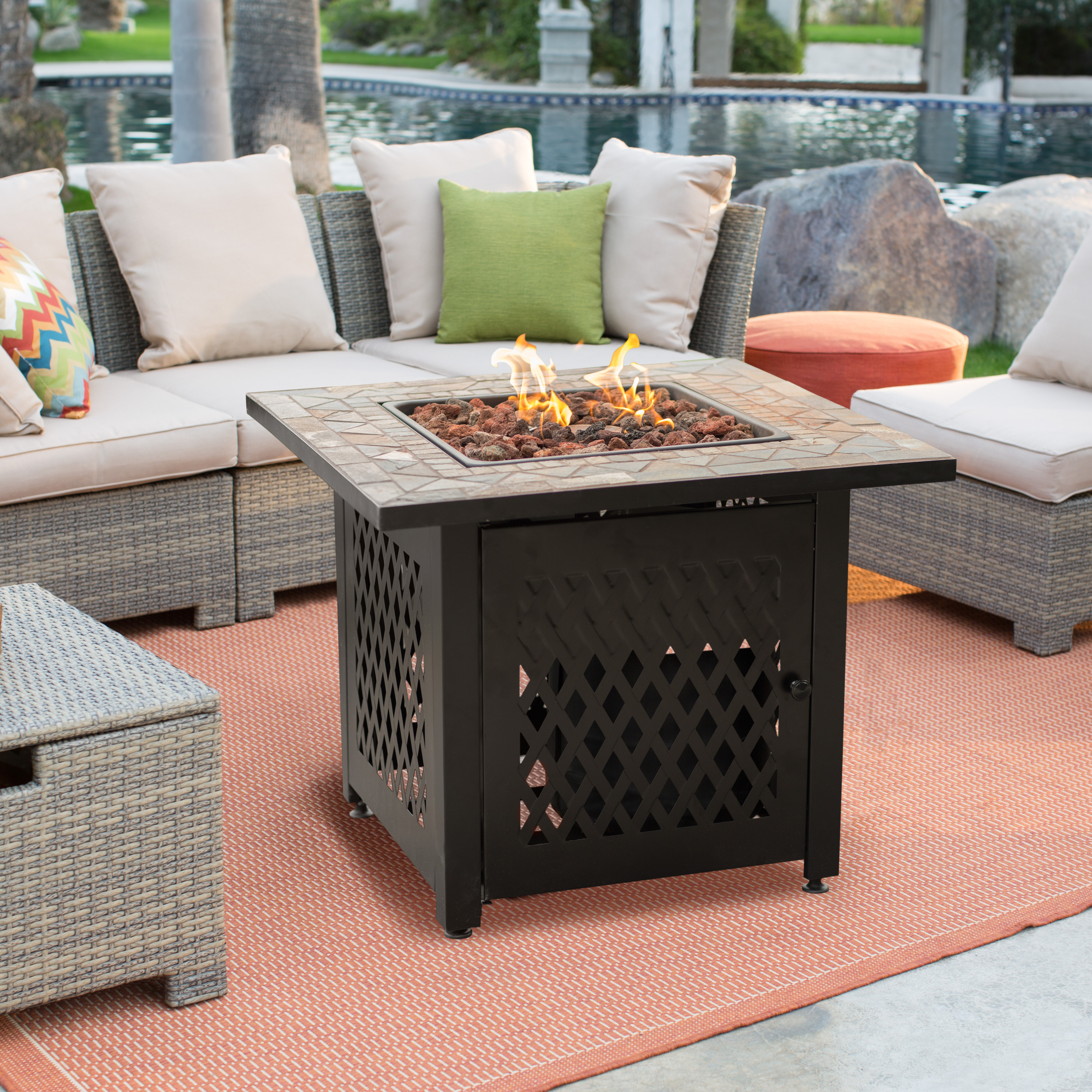 Coral Coast South Isle Fire Pit Chat Set With Mosiac Fire Pit
