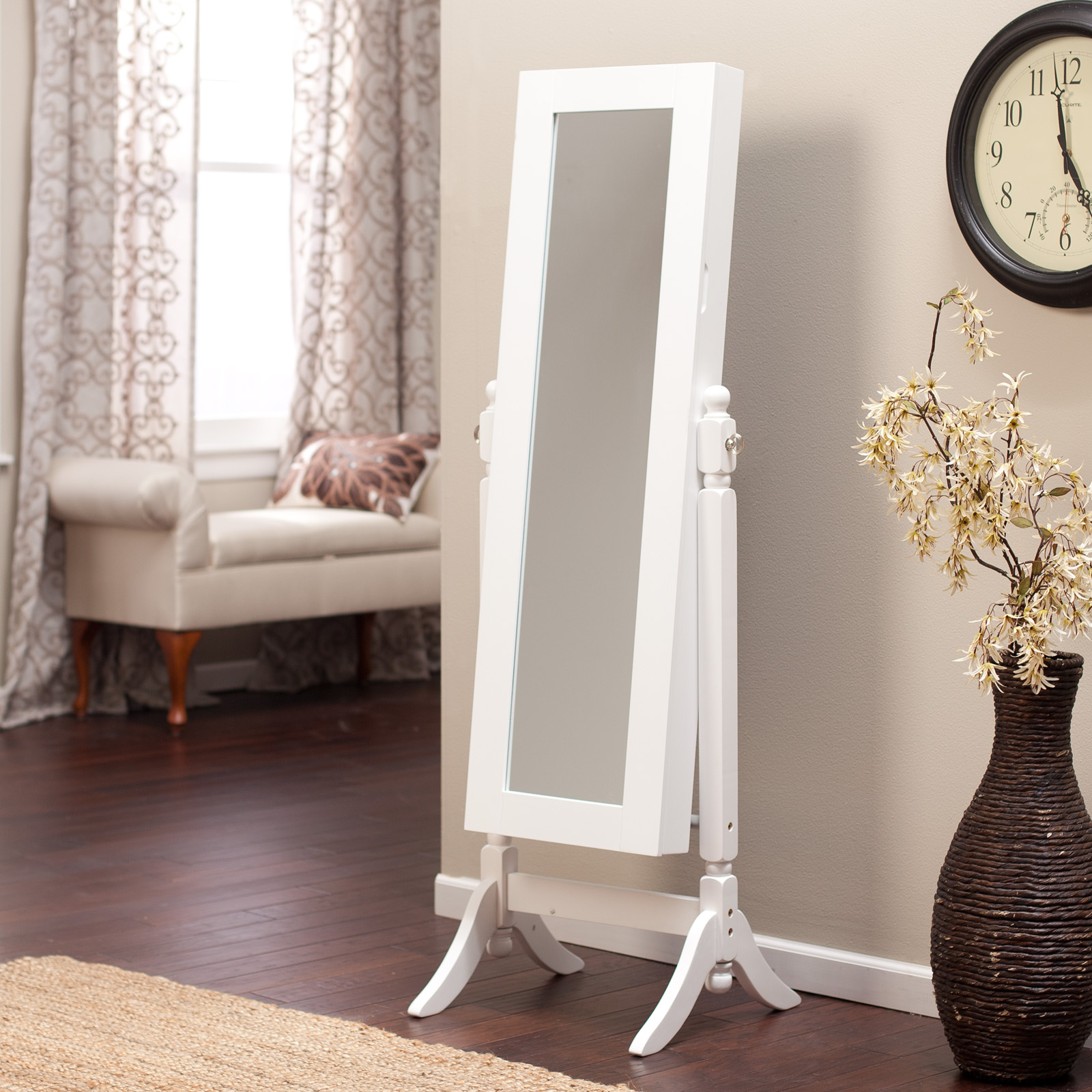 Belham Living White Full Length Cheval Mirror Jewelry Armoire With Lock |  Hayneedle