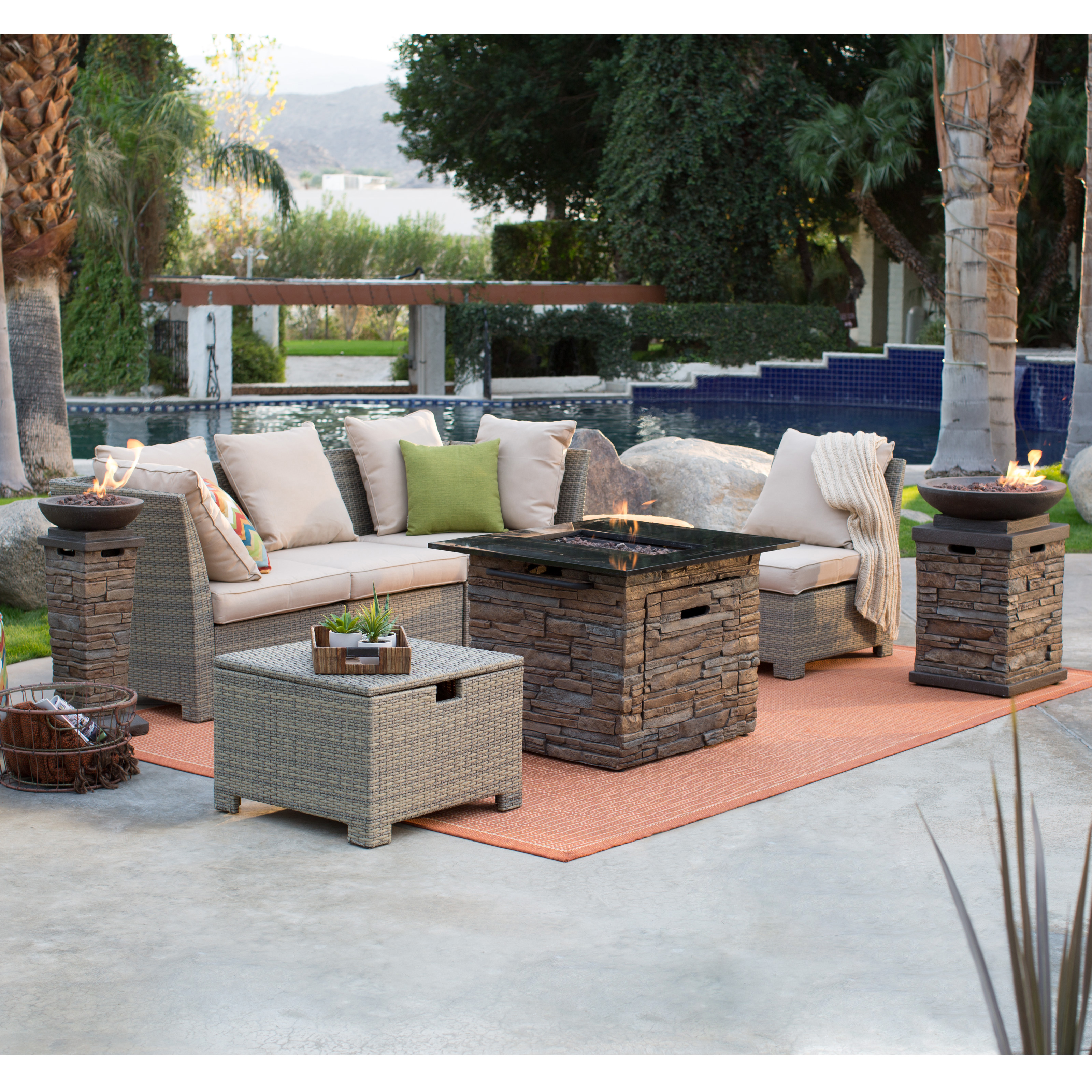 Coral Coast South Isle Natural Sectional Set With Coronado Gas Fire Pit  Table