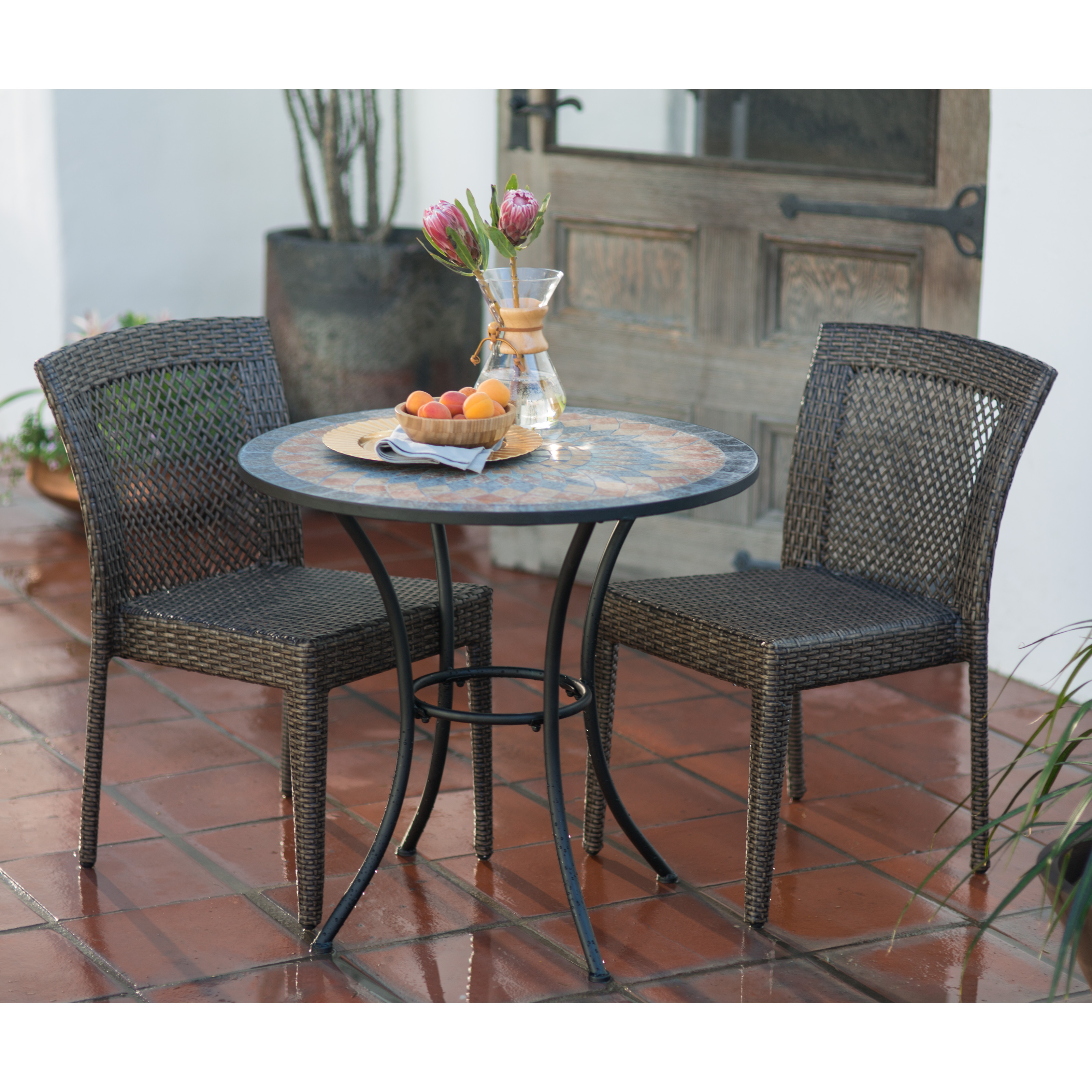 belham living tinsley 3 piece wicker bistro set hayneedle - Kitchen Bistro Set