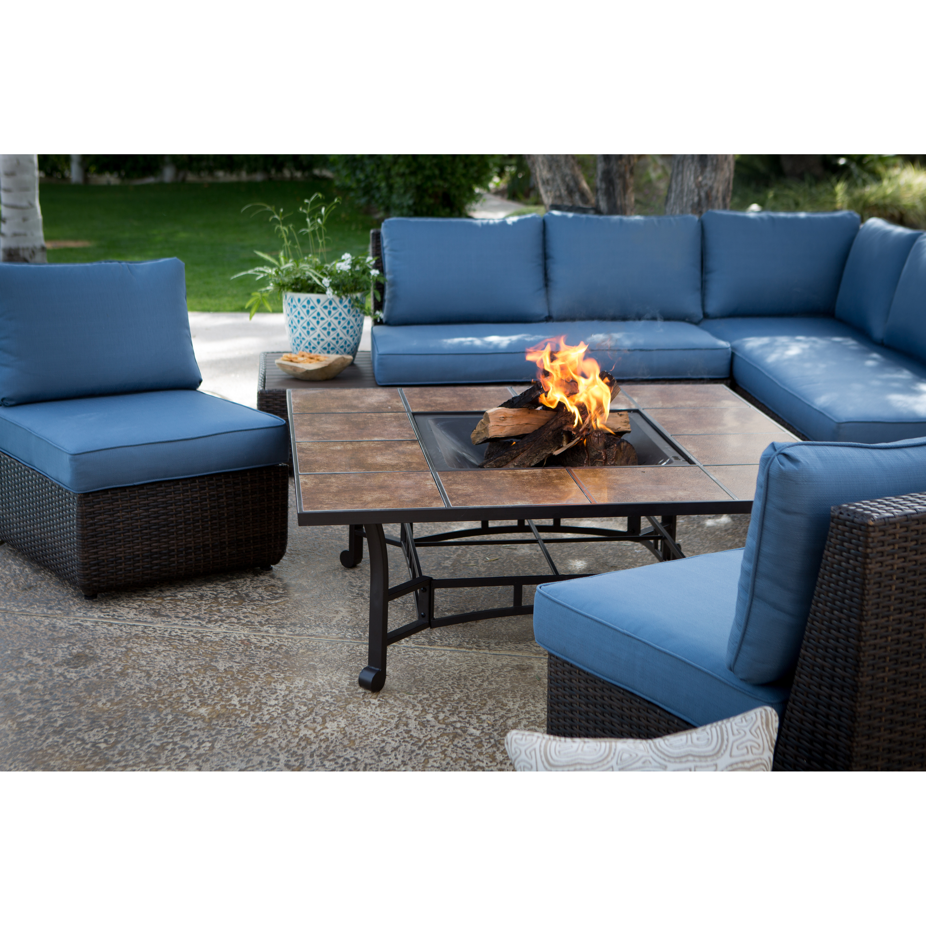 Belham Living Luciana Bay Sofa Sectional Set With Wheatland Fire Pit