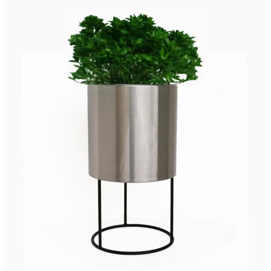 Classic Stainless Steel Cylinder Planter with Metal Base