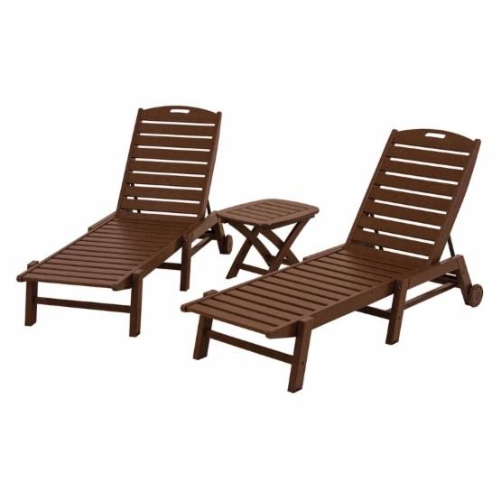 POLYWOOD® Nautical Stackable Wheeled Chaise - Set of 2 with Table