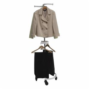 Double Rail Personal Valet Rolling Rack - White
