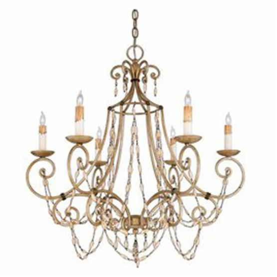 Quoizel Savigne RSV5006AF Chandelier - 28.5W in. - Antique Silver Leaf and Ancient Brass