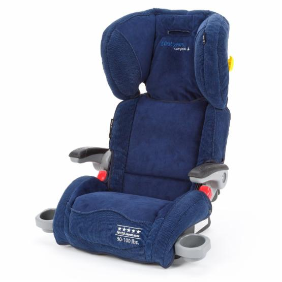 The First Years Compass B540 Ultra Folding Adjustable Booster Car Seat - Retro Rails Navy
