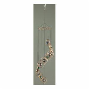 Copper Round Ring with Multi-Color Marbles Wind Chime