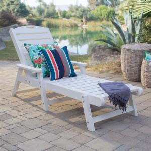 Recycled plastic chaise lounge chairs hayneedle for Chaise longue jardin pvc