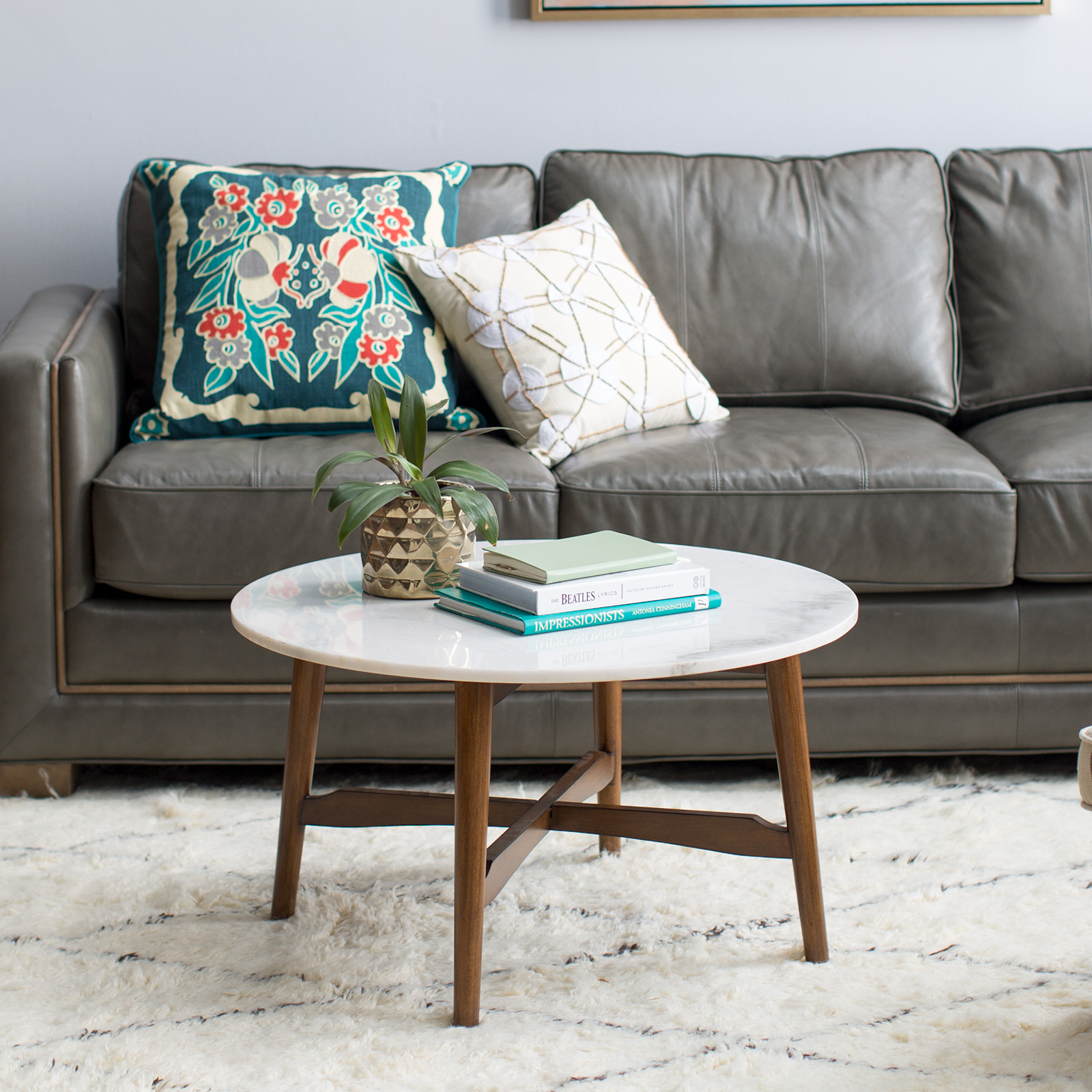QUICK VIEW. Belham Living James Round Mid Century Modern Marble Coffee Table.  $299.99. Free Shipping Part 78