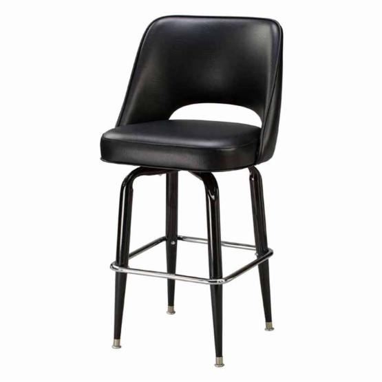 Regal Bucket Seat with Cut Out Back 26 in. Square Frame Black Metal Counter Stool
