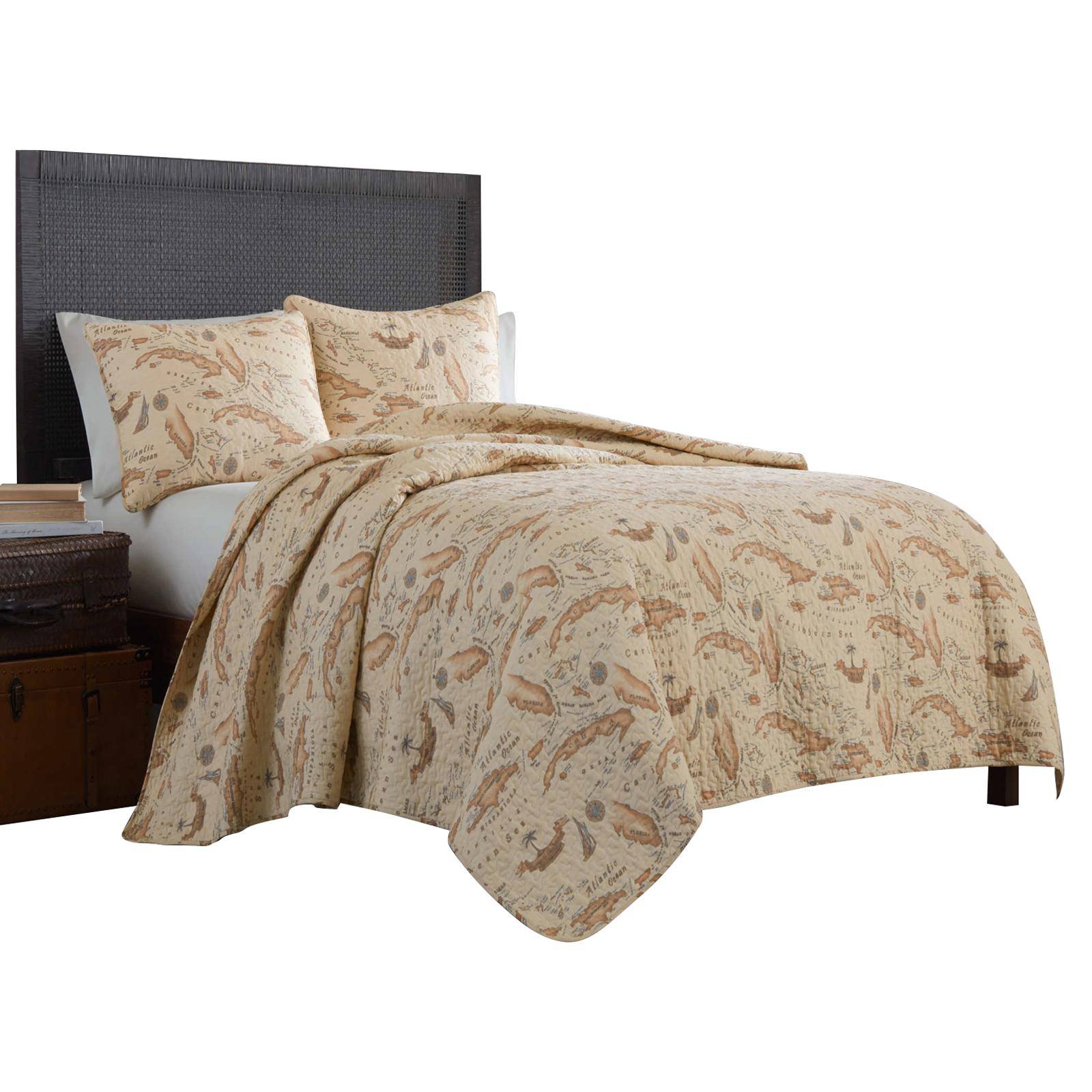 Tommy Bahama Caribbean Map Quilt Set - 187051