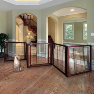 Richell Elite 6-Panel Convertible Pet Gate - Cherry Brown