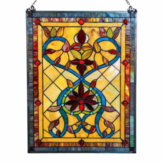 River of Goods 24 in. Stained Glass Fiery Hearts and Flowers Window Panel