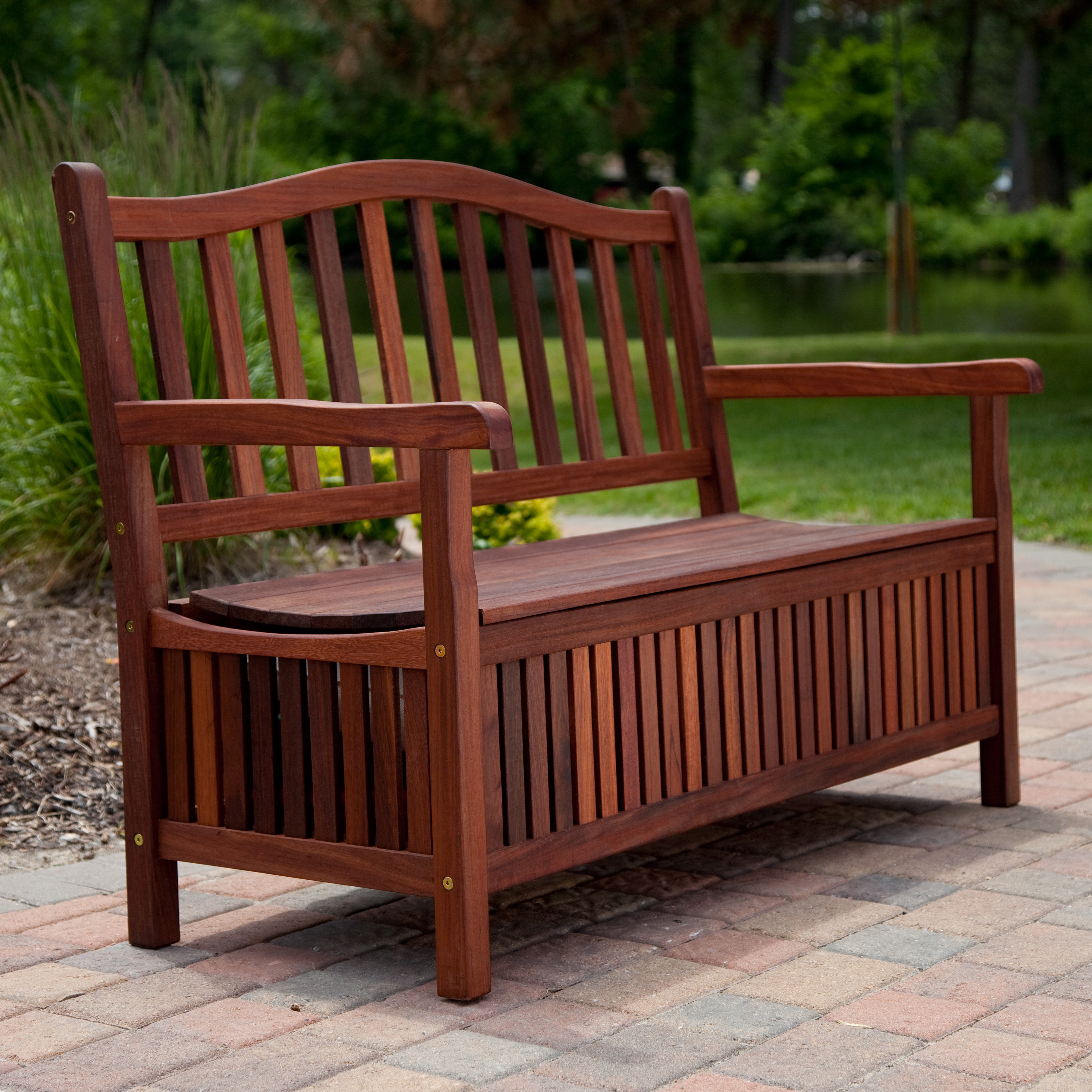 Outdoor wooden benches - Suncast Ultimate 50 Gallon Resin Patio Storage Bench Pb6700 Outdoor Benches At Hayneedle