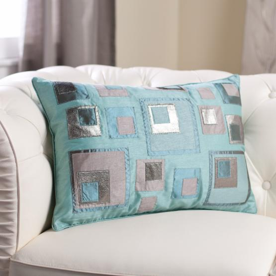 Edie Inc. Luxe Laser Stacked Squares Decorative Pillow - Platinum