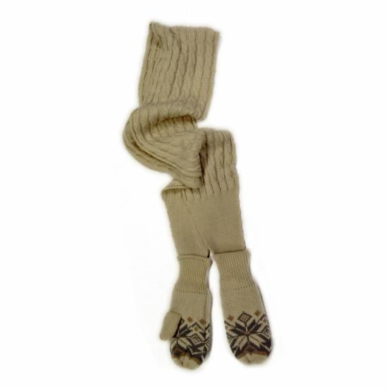 MUK LUKS Snowflake Cable Scarf with Mitten Ends - Winter White