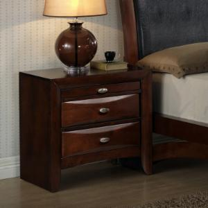 Roundhill Furniture Emily Contemporary 2 Drawer Nightstand with Pull Out Tray