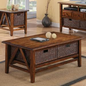 Riverside Claremont Rectangular Cocktail Table - Toffee