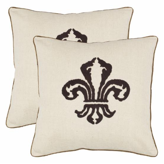 Safavieh Allie 18 in. Decorative Pillows - Chocolate Brown - Set of 2
