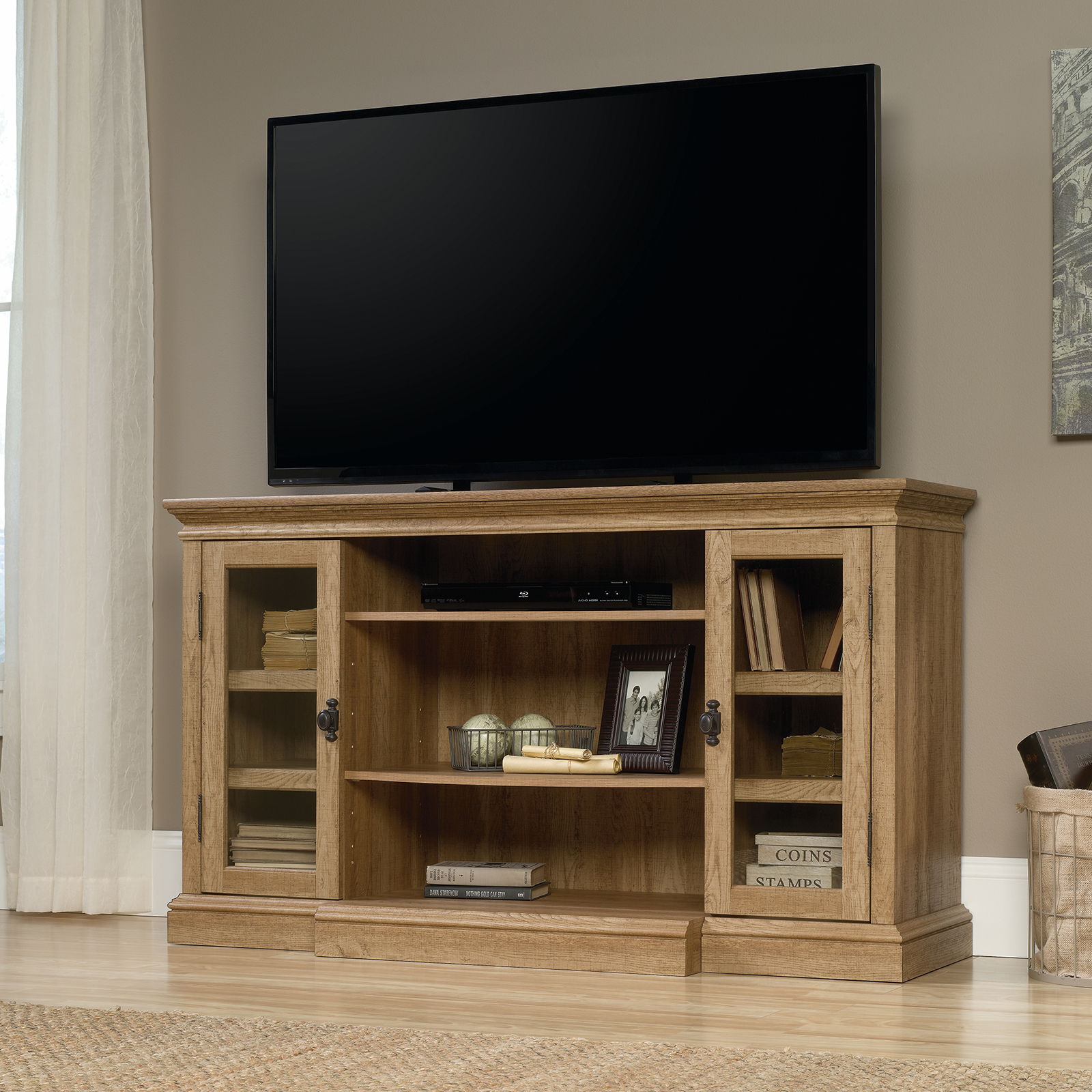 Sauder Dakota Pass Collection Entertainment Center Craftsman Oak
