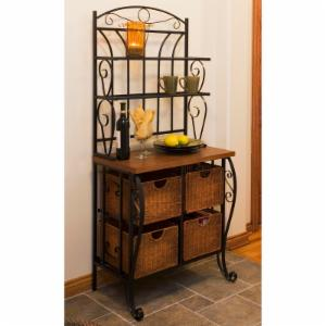 Iron & Wicker Bakers Rack