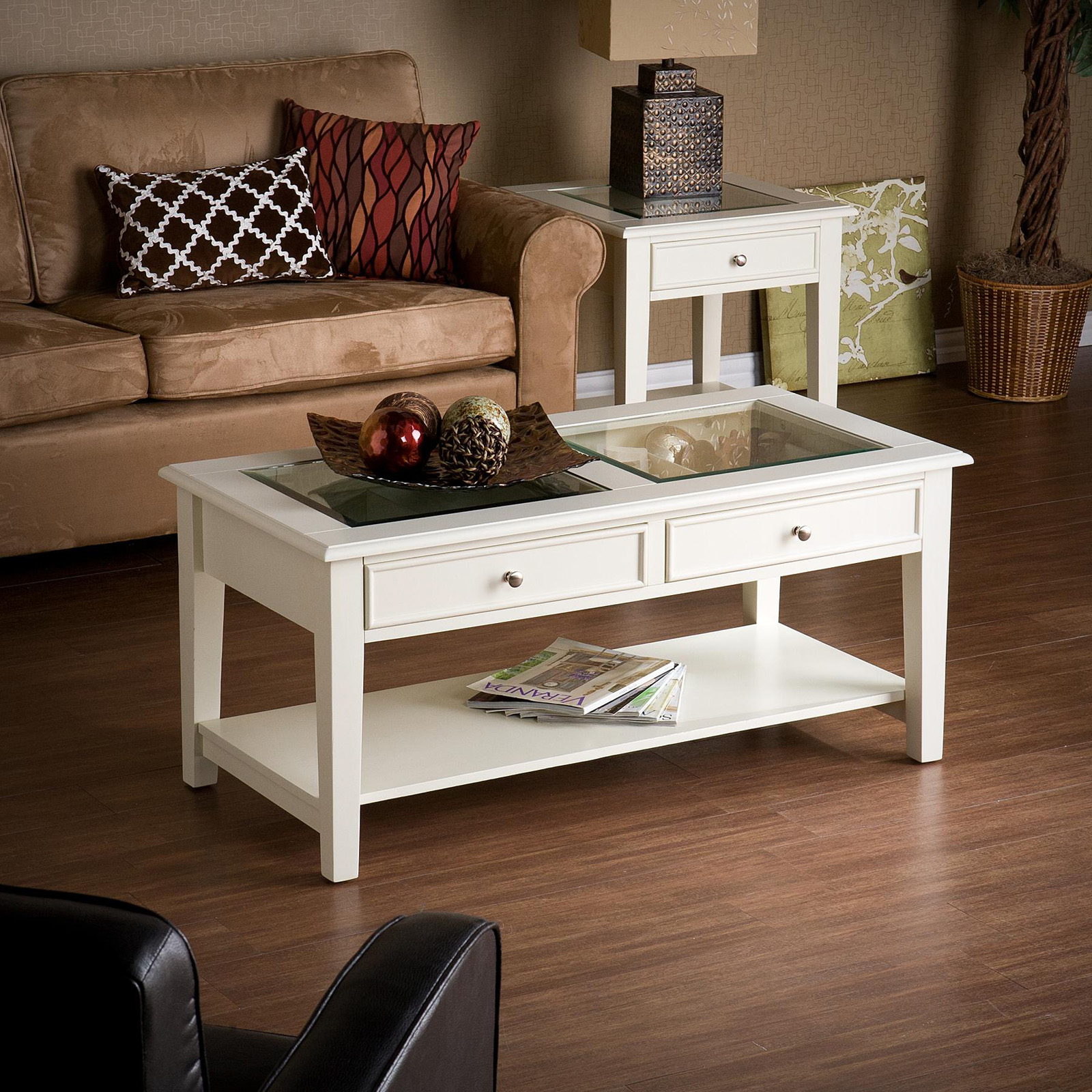 Belham Living Jocelyn Coffee Table White Walnut