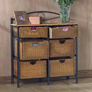 SEI 6-Drawer Wicker Storage Chest