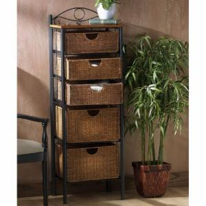 SEI 5-Drawer Wicker Storage Chest