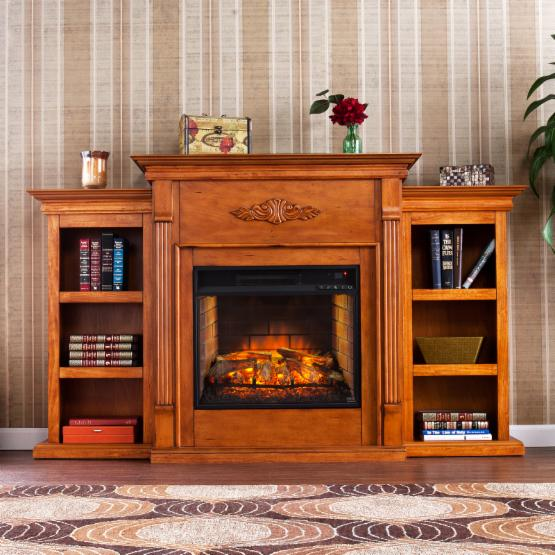 Southern Enterprises Tennyson Infrared Electric Fireplace with Bookcase