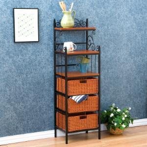 Manilla 3-Drawer Rattan Bakers Rack with Basket Storage