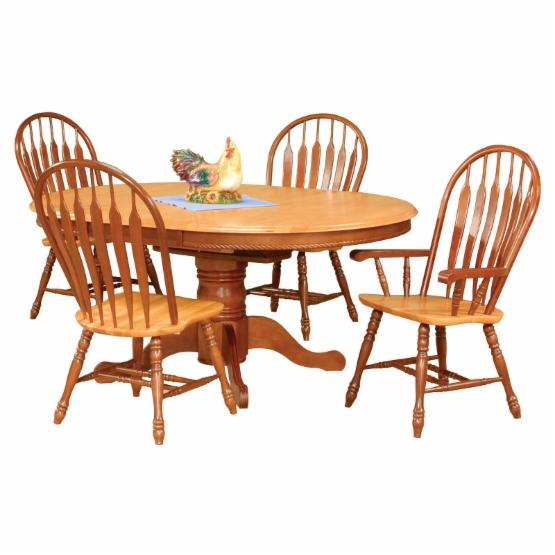 Sunset Trading 5 Piece Pedestal Butterfly Leaf Dining Set with Two Comfort Arm Chairs