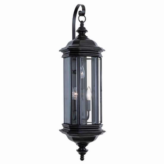 Sea Gull Hill Gate Outdoor Hanging Wall Lantern - 32.25H in. Black