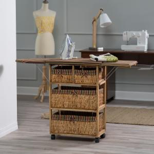 Deluxe Willow Wood Ironing Board Center with Baskets