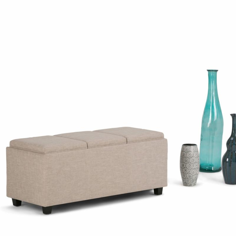 Brooklyn & Max Avalon Linen Storage Bench with 3 Serving Trays - 3AXCAVA-OTTBNCH-02-NL