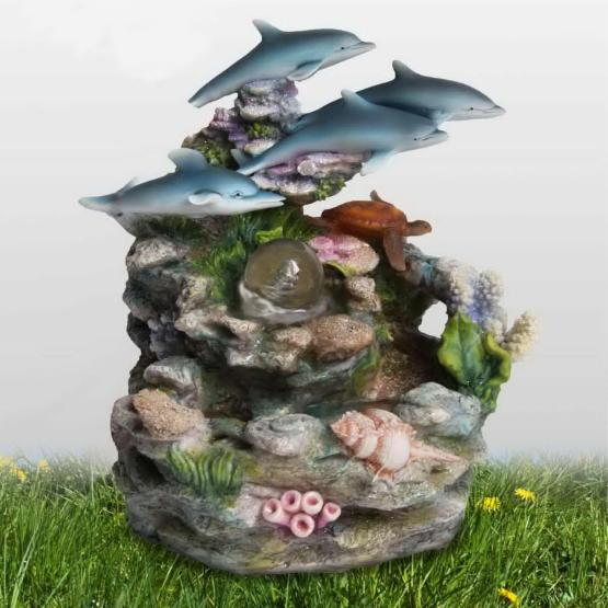 SINTECHNO Four Dolphins and Turtle Tabletop Water Fountain