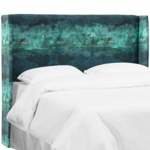 Skyline Furniture Wingback Headboard - Watercolor Block Teal