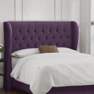 Tufted Wingback Velvet Upholstered Headboard