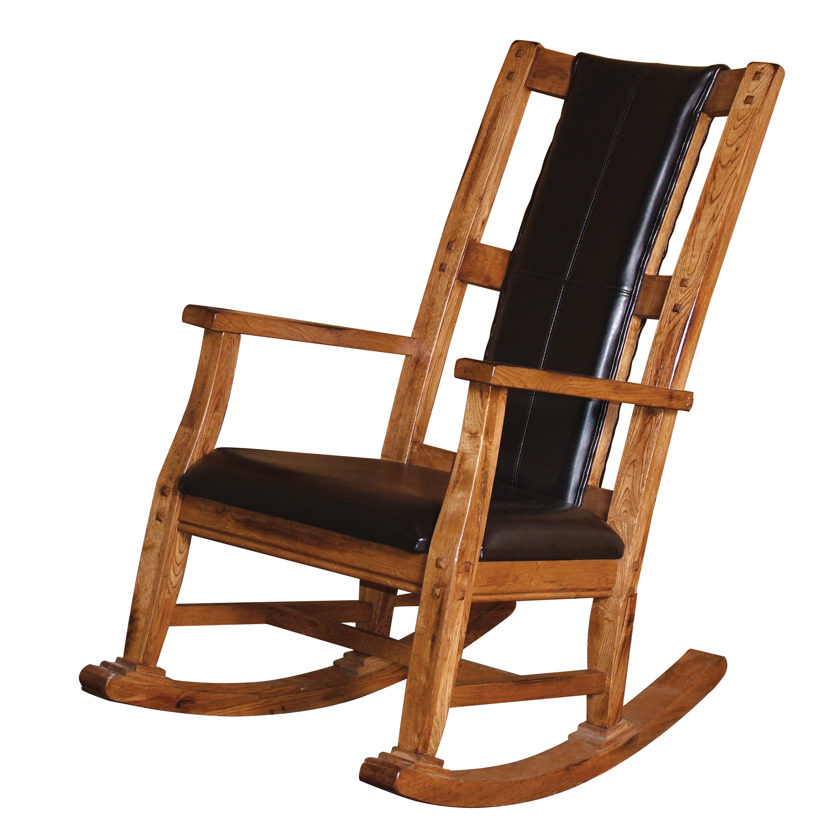 Gift Mark Mission Style Wooden Rocking Chair with Upholstered Seat