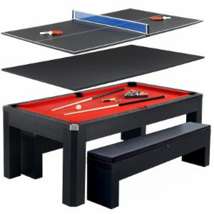 Hathaway Park Avenue 7 ft. Pool Table Combo Set with Benches
