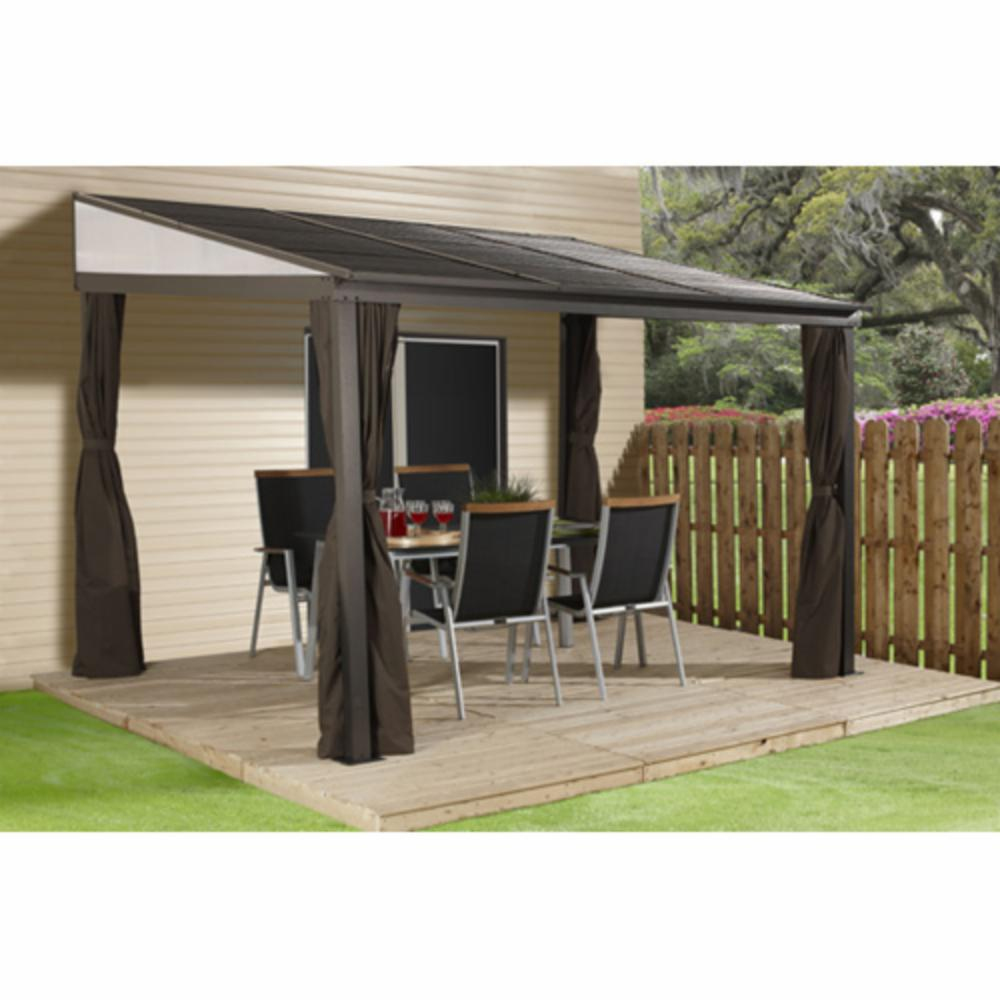 SOJAG INC Portland Mural Sun Shelter Outdoor Gazebo With Net And Curtains