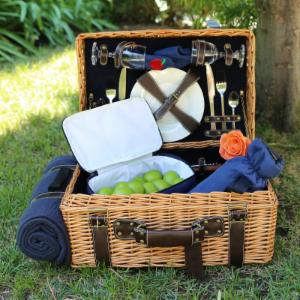 Picnic Pack English Style Willow Picnic Basket for 2 with Corduroy Interior